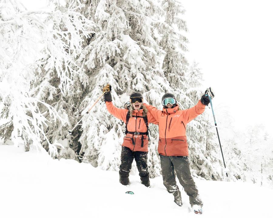 Puder-skidåkning-snö