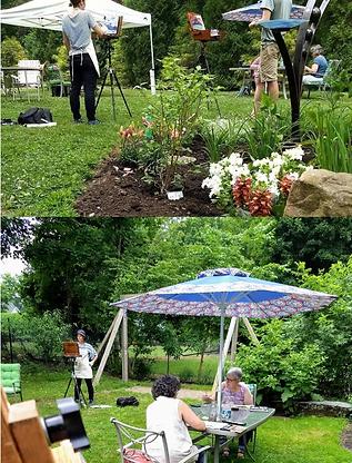 Painting-in-the-garden-art-flowers-sunsh