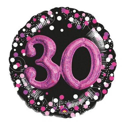 Ballon alu 30 ans 3D rose