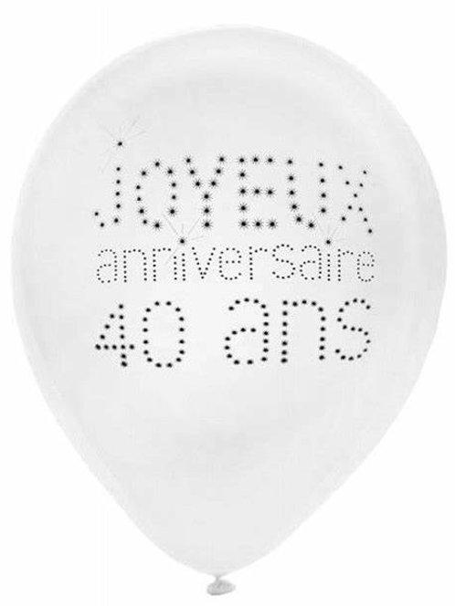 Ballons Latex x8 - 40 Ans