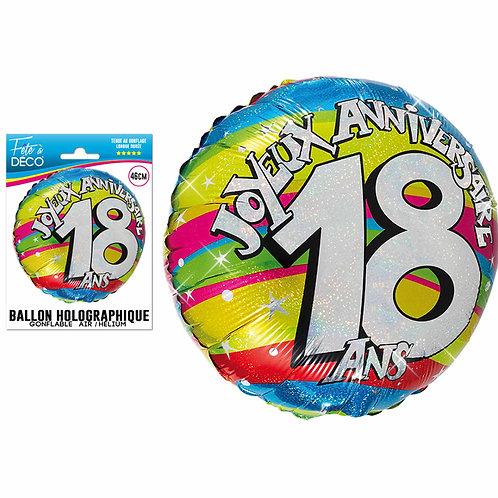 Ballon Alu Holographique - 18 Ans