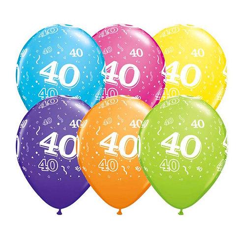 Ballons Latex x6 - 40 ans