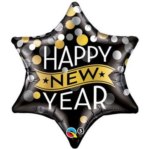 ballon alu étoile Happy New Year