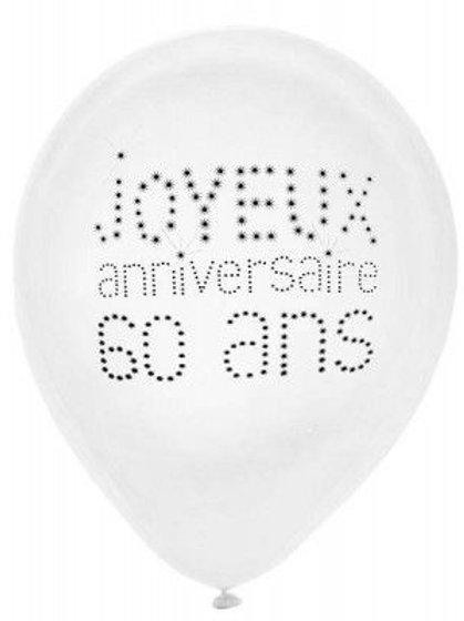 Ballons Latex x8 - 60 Ans