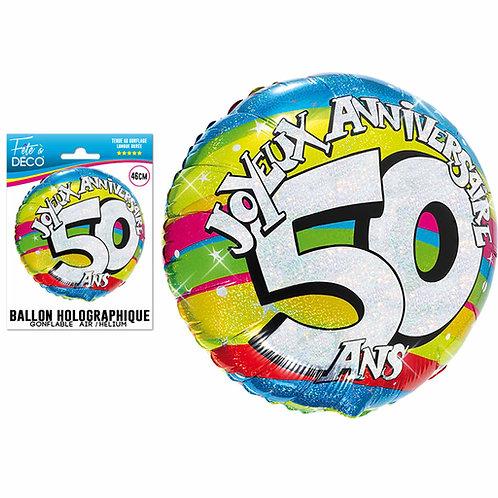 Ballon Alu Holographique - 50 Ans