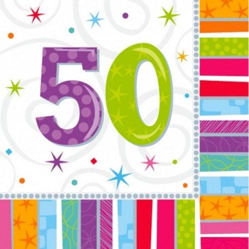 16 Serviettes Ages multicolores - 50 ans