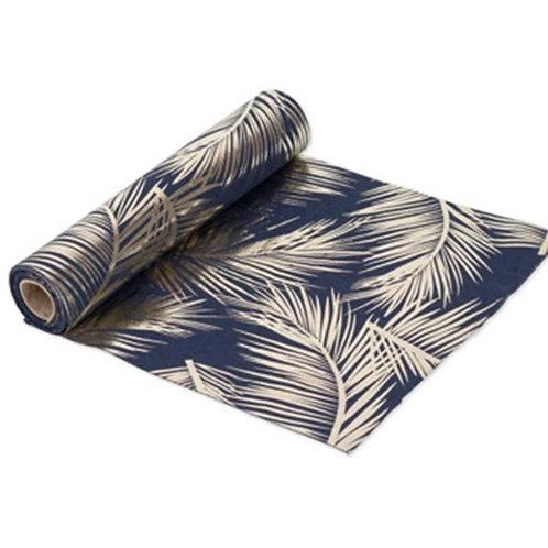 Chemin de Table 5mx30 cm - Lin Fougère Bleu & Or
