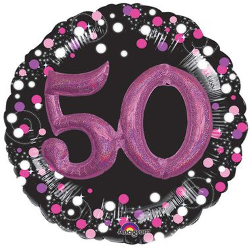 Ballon alu 50 ans 3D rose