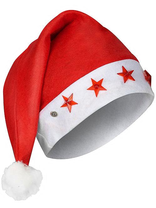 Bonnet de Père-Noël étoiles lumineuses