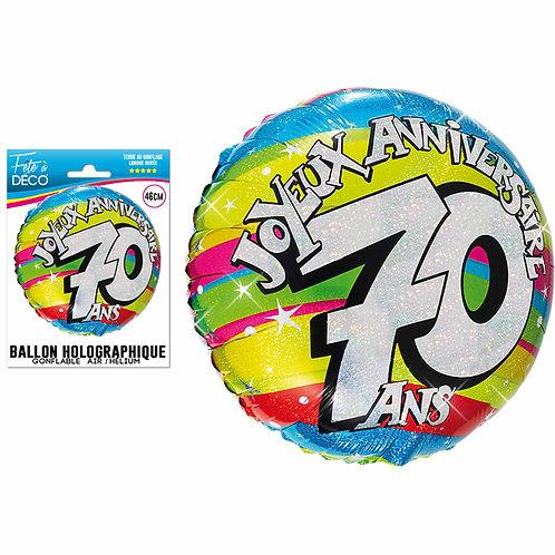 Ballon Alu Holographique - 70 Ans