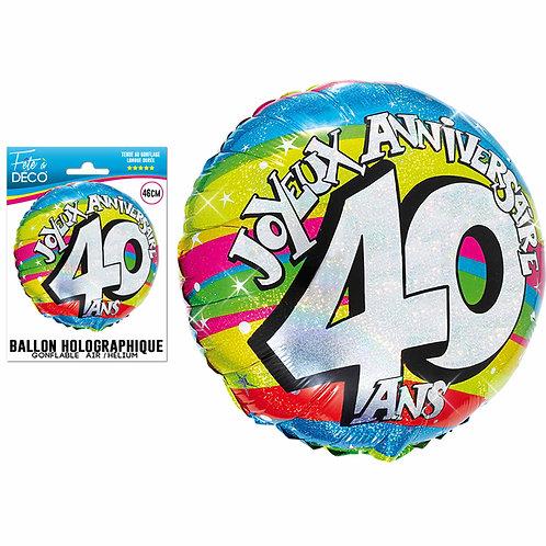 Ballon Alu Holographique - 40 Ans