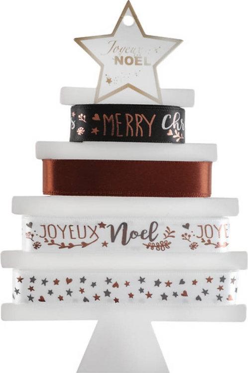 """4 Rubans """"Joyeux Noël"""" Métallisé autocollant - Chocolat"""