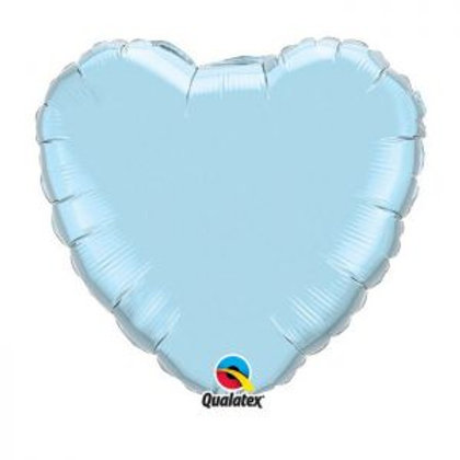"Ballon alu Coeur ""Pearl Light Blue"""