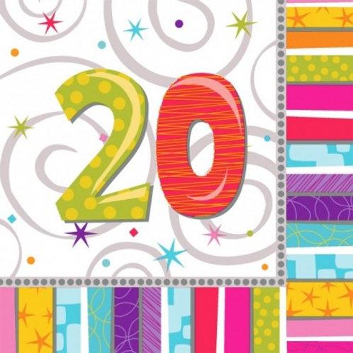 16 Serviettes Ages multicolores - 20 ans