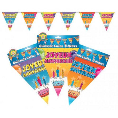 Fanions Multicolores - Joyeux Anniversaire