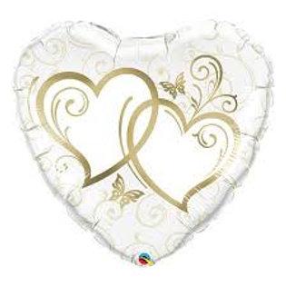 Ballon alu Coeur Or inscription double coeur