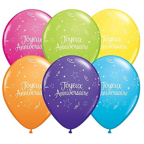 Ballons Latex x6 - Joyeux Anniversaire