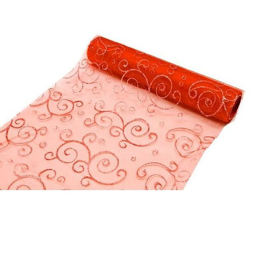 Chemin de Table 5mx30 cm - Arabesque Rouge