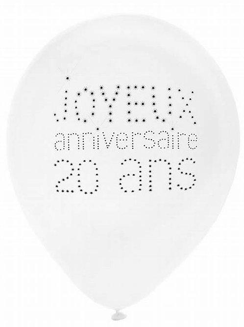 Ballons Latex x8 - 20 Ans