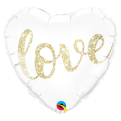 "Ballon alu blanc inscription ""LOVE OR"""
