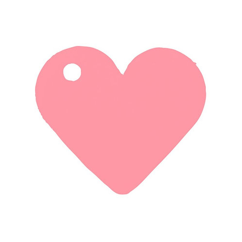 Etiquettes Coeur x50 - Rose