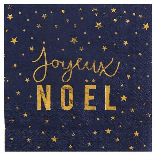 """Serviettes de Noël """"Bleu nuit & Or"""""""