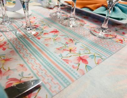 Ch de Table vert d'eau et orangé