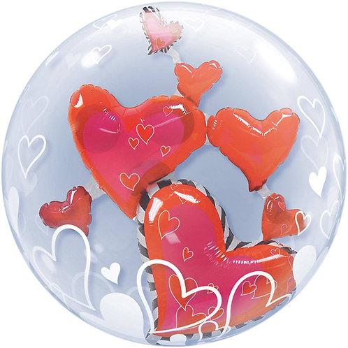 Ballon Double Bubbles Coeur