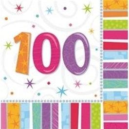 16 Serviettes Ages multicolores - 100 ans