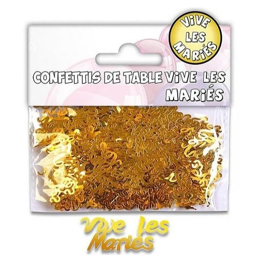 Confettis de Table Multicolore - Vive les mariés Or