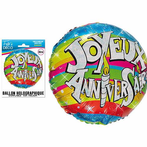 Ballon Alu Holographique - Joyeux Anniversaire