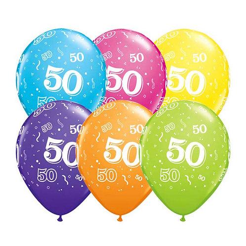 Ballons Latex x6 - 50 ans