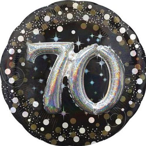 Ballon alu 70 ans 3D argenté