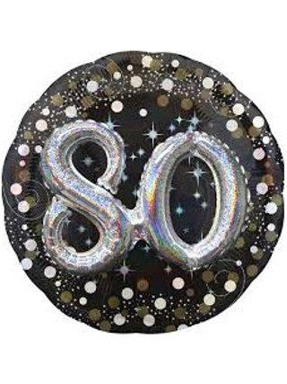 Ballon alu 80 ans 3D argenté