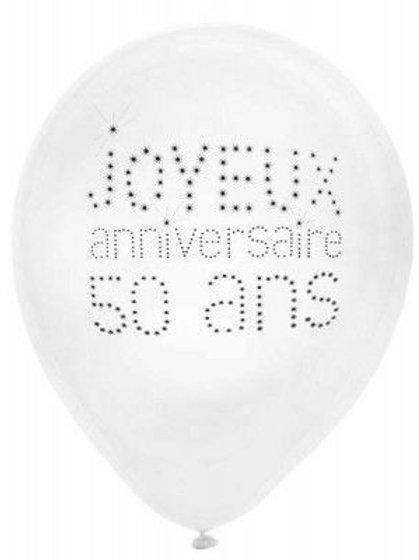 Ballons Latex x8 - 50 Ans
