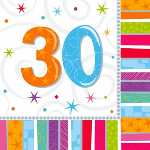 16 Serviettes Ages multicolores - 30 ans