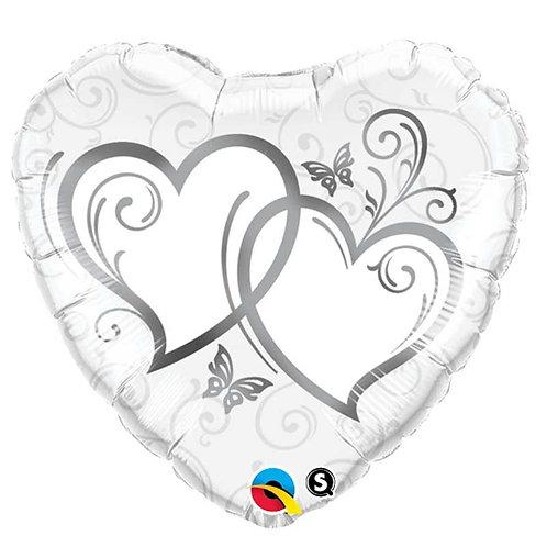 Ballon alu Coeur argent inscription double coeur