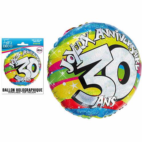 Ballon Alu Holographique - 30 Ans