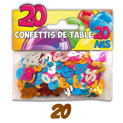 Confettis de Table Multicolore - 20 ans