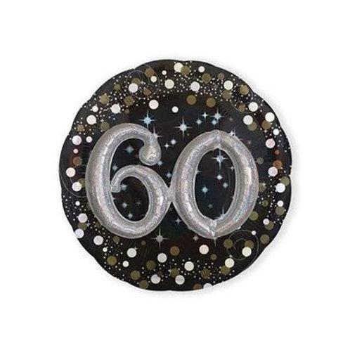 Ballon alu 60 ans 3D argenté