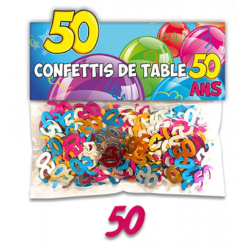 Confettis de Table Multicolore - 50 ans