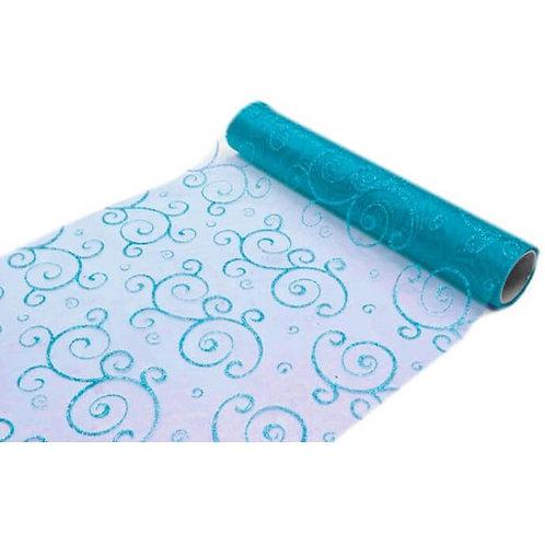 Chemin de Table 5mx30 cm - Arabesque Turquoise