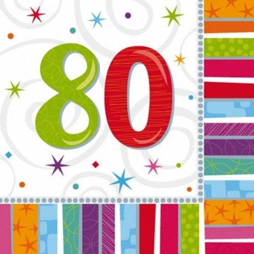 16 Serviettes Ages multicolores - 80 ans