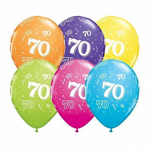 Ballons Latex x6 - 70 ans