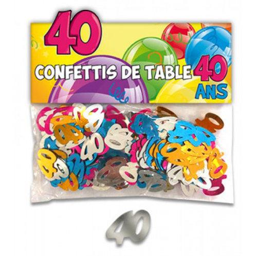 Confettis de Table Multicolore - 40 ans