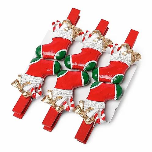 Pinces bottes de Noël x6