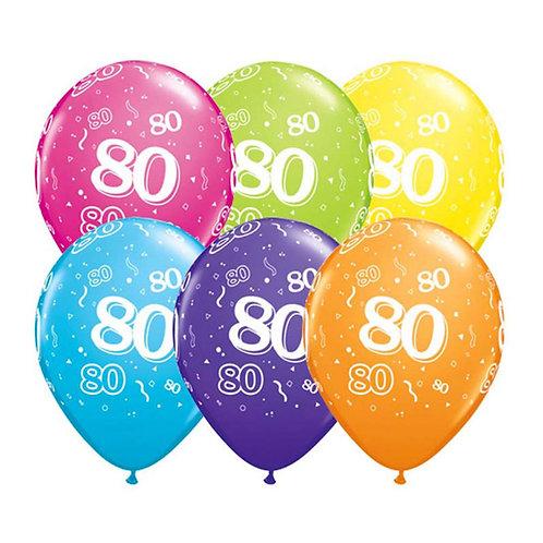 Ballons Latex x6 - 80 ans