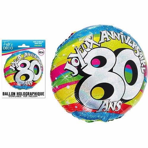 Ballon Alu Holographique - 80 Ans
