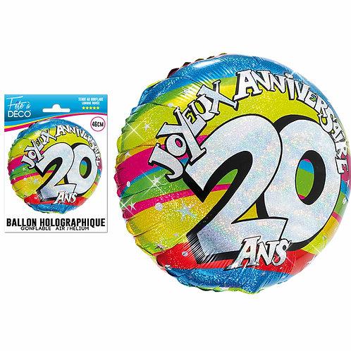 Ballon Alu Holographique - 20 Ans
