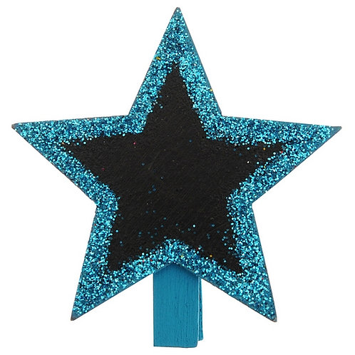 Marque-Place Ardoise Etoile Pailletée x4 - Turquoise